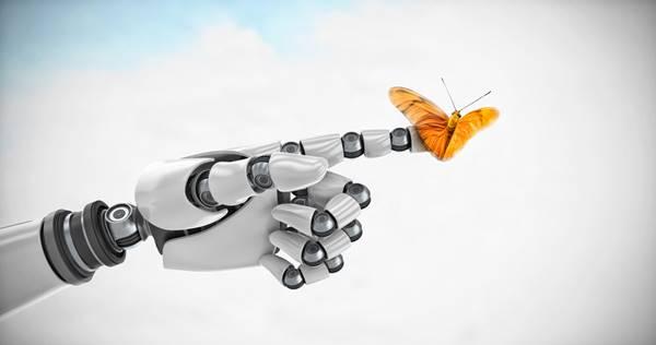 Arte 3d de robô e borboleta
