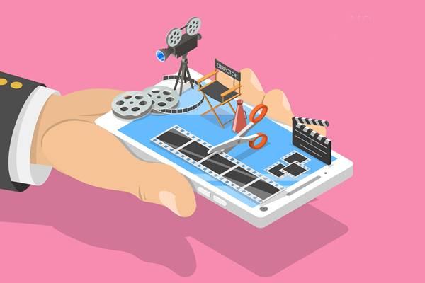 Ilustração de um celular contendo um estúdio de animação