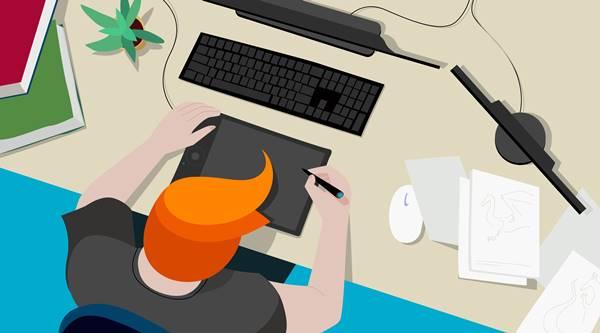 Ilustração de um animador trabalhando com mesa digitalizadora
