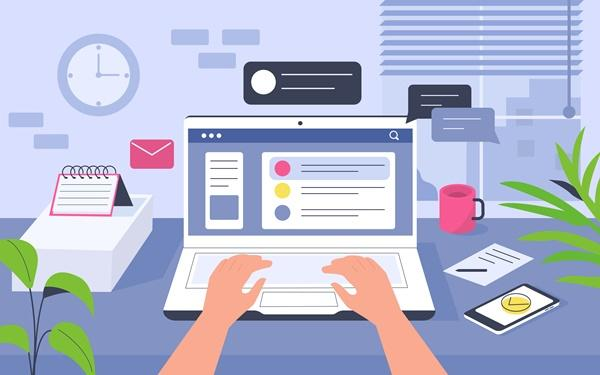 Ilustração de pessoa usando recursos multimídia no trabalho