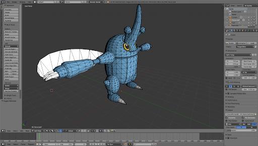 Aplicativo de computação gráfica moldando o Pokemon Heracross em modelo 3D